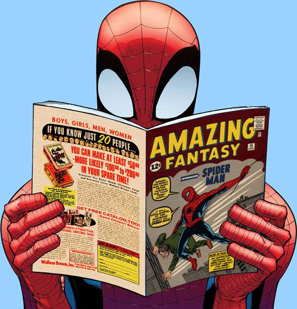 Spider-Man reading Amazing Fantasy #15